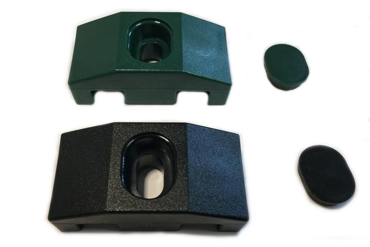 Držák 2d panelu na sloupek 60x60. Černá a zelená barva.